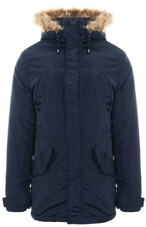 Le Shark True Navy Pepeys Faux Fur Longline Jacket  - Click to view a larger image
