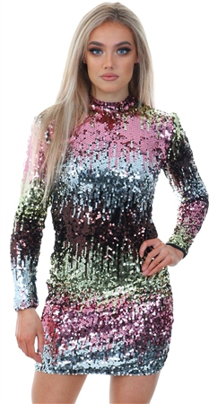 b020c239f4 Qed Black High Neck Fitted Sequin Dress