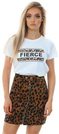 Qed Brown Zip Front Animal Print Cord Skirt  - Click to view a larger image