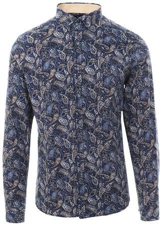 Alex & Turner Navy/Tan Paisley Print Button Down Shirt  - Click to view a larger image