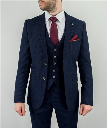 Cavani Navy Roselli Pin Stripe 3 Piece Suit  - Click to view a larger image