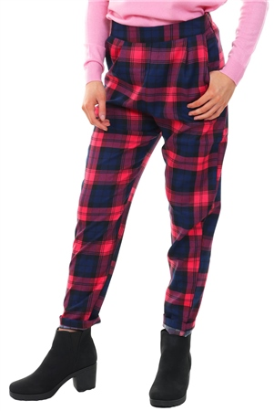Miss Truth Pink Cigarette Checked Print Trouser  - Click to view a larger image