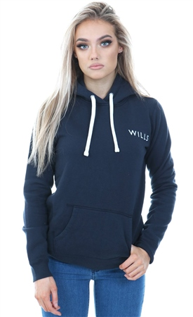 Jack Wills Navy Hunston Wills Logo Hoodie  - Click to view a larger image