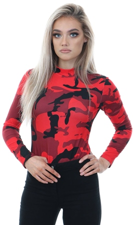 Cutie London Red Camo Printed High Neck Bodysuit  - Click to view a larger image