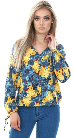 Veromoda Smoke Blue Mille Floral Print Top  - Click to view a larger image