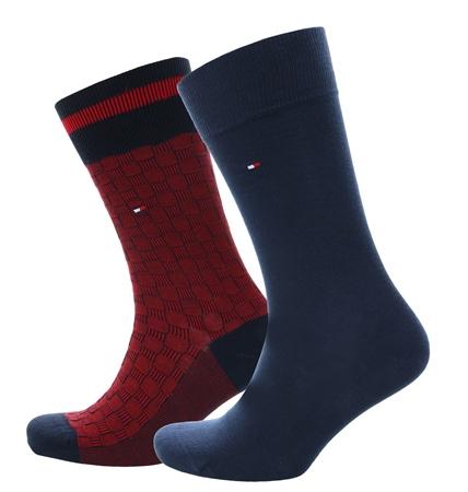 Hilfiger Denim Red/Navy 2-Pack Basket Knit Socks  - Click to view a larger image
