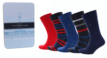 Hilfiger Denim Red/Navy 5-Pack Socks In A Tin  - Click to view a larger image
