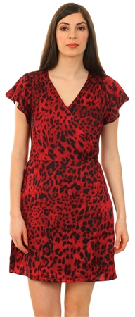 Ax Paris Red Leopard Printed Tie Waist Dress  - Click to view a larger image