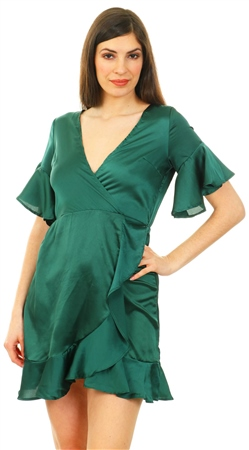 Ax Paris Green Satin Ruffle V Neck Mini Dress  - Click to view a larger image