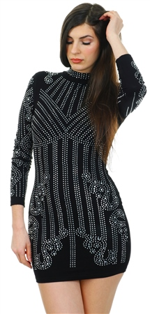 Parisian Black Long Sleeve Embellished Dress  - Click to view a larger image