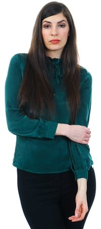 Fashion Union Green Frill High Neck  - Click to view a larger image