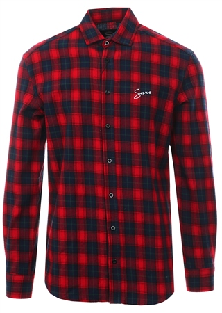 Sinners Attire Red/Black Script Flannel Shirt  - Click to view a larger image