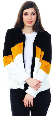 Brave Soul Black / Mustard Fluffy Short Jacket  - Click to view a larger image