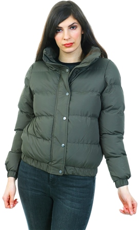 Brave Soul Khaki Zip Up Padded Coat  - Click to view a larger image