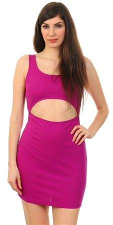 Parisian Pink Front Cut Out Mini Bodycon Dress  - Click to view a larger image
