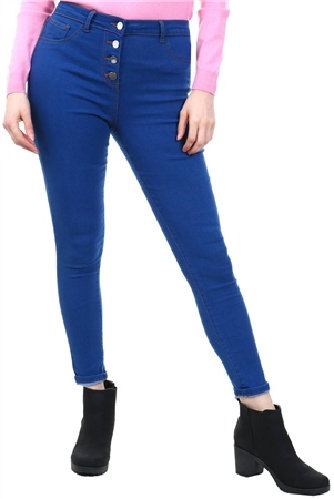 Parisian Bright Blue Button High Waist Skinny Jean  - Click to view a larger image