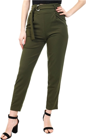 Parisian Green High Waist Belted Trouser  - Click to view a larger image