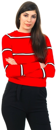 Daisy St Red Stripe Round Neck Knit Jumper  - Click to view a larger image