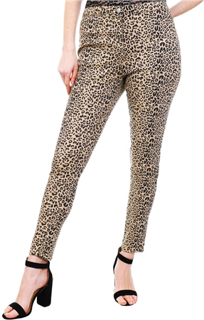 Parisian Camel Leopard Print High Waist Jeggings  - Click to view a larger image