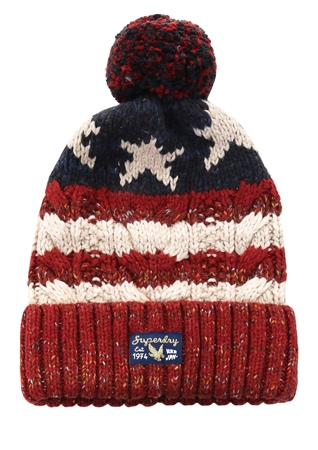 Superdry Red/Cream/Blue Americana Cable Beanie  - Click to view a larger image