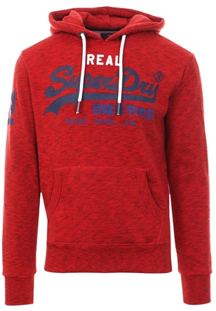 Superdry Red Grit Vintage Logo Tri Hoodie  - Click to view a larger image