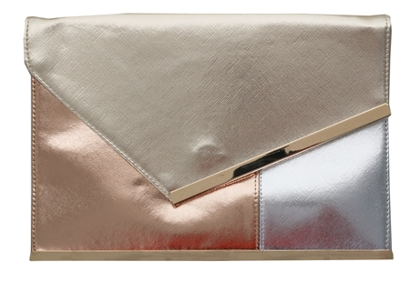 Koko Gold /Rose Gold And Sliver Clutch Bag  - Click to view a larger image