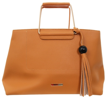 Koko Yellow/Orange Zip Over Tassel Handbag  - Click to view a larger image