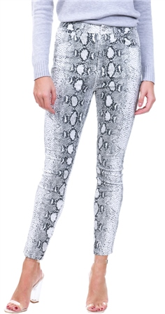 meticulous dyeing processes fashion style of 2019 exquisite style White / Grey Snake Print Skinny Jeans - 8