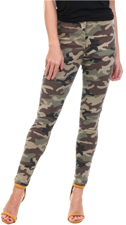 Parisian Camo Printed Fitted High Waist Skinny Jean  - Click to view a larger image