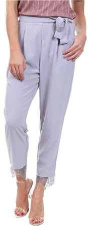 Style London Light Grey Waist Tie Lace Trim Trouser  - Click to view a larger image