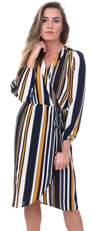 Ax Paris Navy / Mustard Stripe Waist Tie Dress  - Click to view a larger image