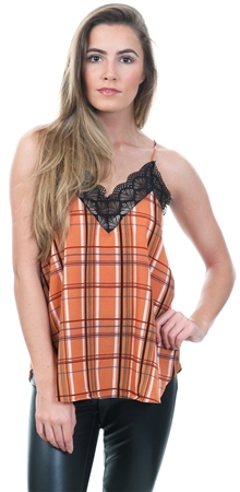 662467fc862 Style London Rust Check Lace Trim Cami Top | | Shop the latest ...