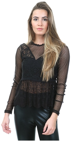 Only Black Lace Mesh Long Sleeved Top  - Click to view a larger image