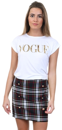 Parisian White Vogue Logo Short Sleeve T-Shirt  - Click to view a larger image