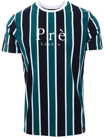 Pre London Navy / Green/White Evolve Stripe T- Shirt  - Click to view a larger image