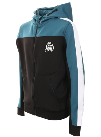 Kings Will Dream Black/Teal/White Mert Zip Hooded Top  - Click to view a larger image