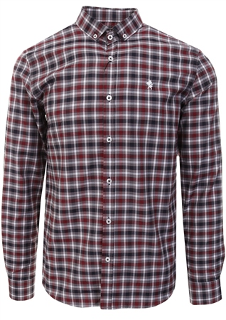 Alex & Turner Purple/Mavy Check Button Up Shirt  - Click to view a larger image