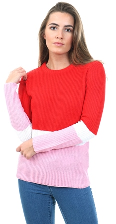 Brave Soul Red Cabel Knit Colour Block Sweater  - Click to view a larger image