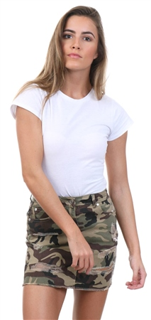 Parisian Camo Printed Ripped Mini Skirt  - Click to view a larger image