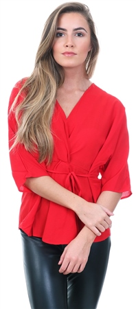 Ax Paris Red V Neck Tie Belted Short Sleeve Top  - Click to view a larger image