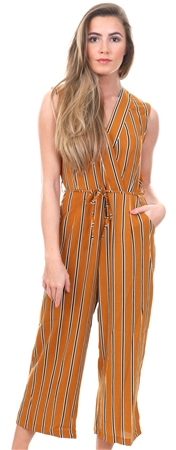 Ax Paris Mustard Stripe Culotte Jumpsuit With V Neck  - Click to view a larger image