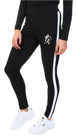 Gym King Black / White Linear Tape Leggings  - Click to view a larger image