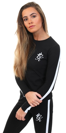 Gym King Black / White Linear Long Sleeve T-Shirt  - Click to view a larger image