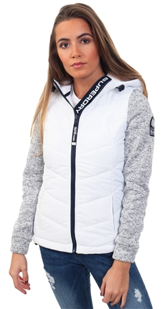 Superdry Slate Grey/White Storm Hybrid Zip Hoodie  - Click to view a larger image