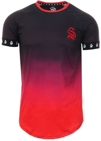 Sinners Attire Black/Red Tape Dip Dye Short Sleeve Tee  - Click to view a larger image