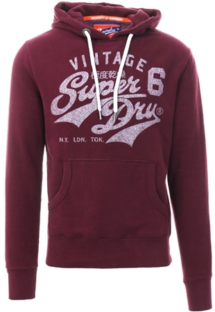 Superdry Wine Hertiage Classic Pull Over Hoodie  - Click to view a larger image
