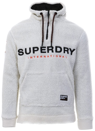 Superdry Ecru Mountain Sherpa Overhead Hoodie  - Click to view a larger image