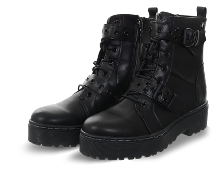 Refresh Black Lace Up Buckle Ankle Boot  - Click to view a larger image