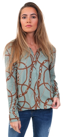 Only Green Printed Long Sleeved Shirt  - Click to view a larger image
