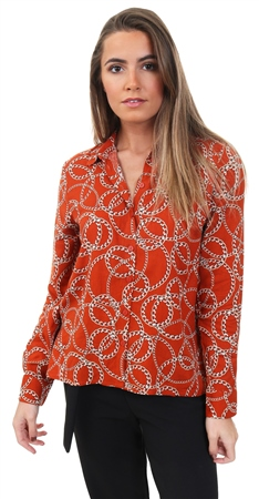 Only Mustard Printed Long Sleeved Shirt  - Click to view a larger image